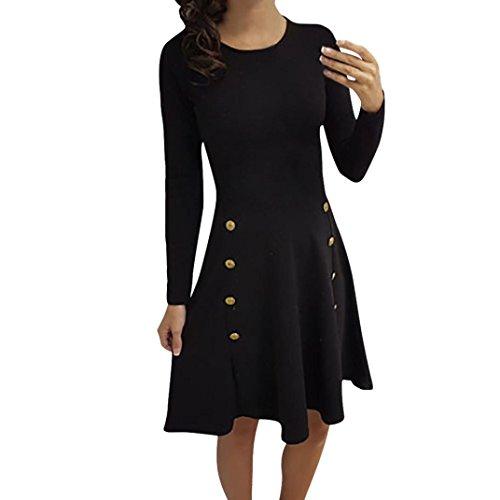 VENMO Frau Langärmliges lockeres Hemdkleid Button Trim Bluse Einfarbig Rundhals-Kleid kleid damen Minikleid Lässig Lose Kurz Hemdblusenkleid Tunika Bluse Langarm Hemd Longshirt Top (Black, XL) (Sie Vordere Dessous Öffnen Die)