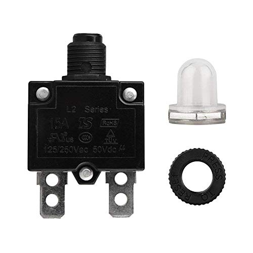 QIND LS Schalter, 5A/10A/15A/20A/30Amp Circuit Breaker Panel Mount Air Switch zurücksetzbar thermischen Sicherung Stromunterbrecher, Schwarz, 15a
