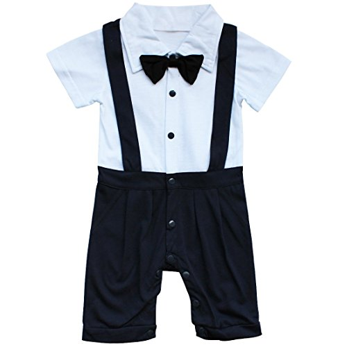 79dbf5d30c6f9 TiaoBug Vêtement de Bébé Garçon Costume Romper Manches Courtes Été  Barboteuse à Bretelle avec Bowknot pour
