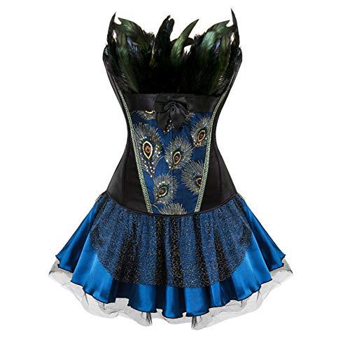 XMDNYE Burlesque Halloween Kostüm Sexy Federn Gothic Vintage Korsett Kleid Overbust Korsett Bustier Rock Steampunk Mieder