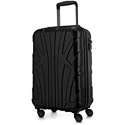 SUITLINE - Handgepäck Hartschalen-Koffer Koffer Trolley Rollkoffer Reisekoffer, TSA, 55 cm, 34 Liter, Schwarz