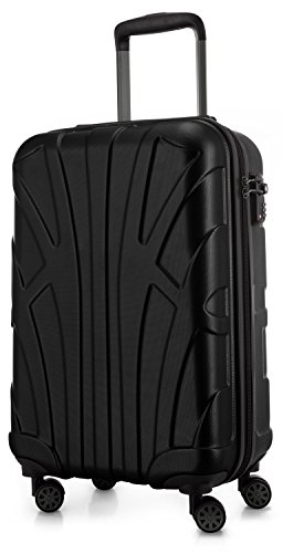 SUITLINE - Handgepäck Hartschalen-Koffer Koffer Trolley Rollkoffer Reisekoffer, TSA, 55 cm, 34 Liter, Schwarz (Schwarz Erweiterbar-gepäck-set)