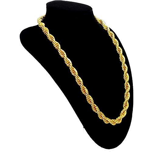 Tuokay 18K Dorar Collar para Hombre 24 Pulgadas 12mm, Cadenas de Acero Inoxidable para Hombre (Cadena de Cuerda)