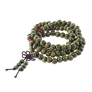 TOOGOO(R) Olivgruene Sandelholz-Perlen buddhistische mala Halskette Rosenkranz 29