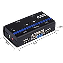 E-SDS - conmutador KVM de 2puertos VGA USB compatible con audio y micrófono, Cables incluidos, VGA, resolución de hasta 2048x 1536