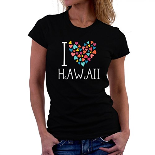 Camiseta-de-mujer-I-love-Hawaii-colorful-hearts