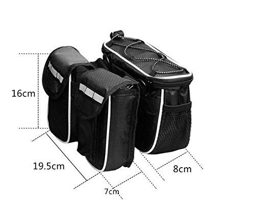 FAN4ZAME Wasserdichte Fahrrad Vorderachse Auto Tasche Berg Vordere Tasche Fahrrad Sattel Tasche Black