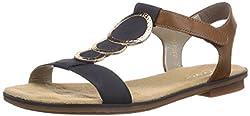 Rieker Damen Sandalen 64278, Frauen Riemchensandale, römer-Sandale Sandalette Gladiatoren-Sandale sommerschuh,Pazifik/Amaretto / 16,43 EU / 9 UK