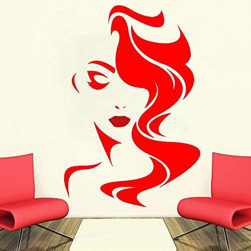Ajcwhml Wandtattoo Schönheitssalon für Damen Vinyl Aufkleber Wohnkultur Friseur Frisur Frisur Friseur Fenster Aufkleber 57x85cm