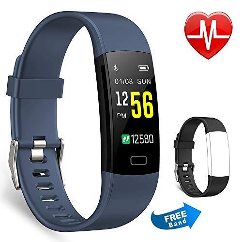 Juboury Fitness Armband mit Pulsmesser, Fitness Tracker Farbdisplay Wasserdicht IP67 Aktivitäts Tracker Fitness Uhr mit iPhone Android Geschenk für Damen Herren und Kinder (Blau)