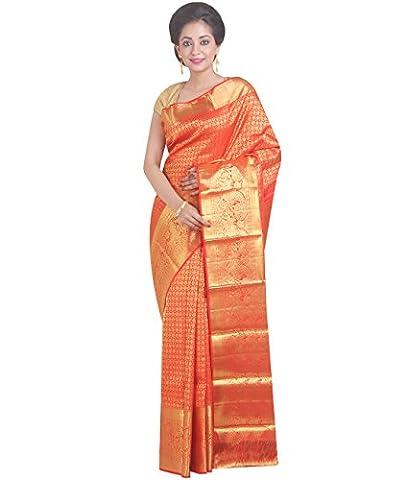 Indian Ethnic Pure Kanjeevaram Silk Dark Orange Handloom