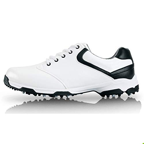 SHENMINJ Scarpe da Ginnastica da Uomo,Scarpe da Golf Anti Scivolo Spikes fortissimo Impermeabile Scarpe Sportive,Nero,39