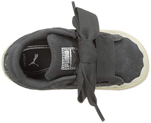 PUMA Unisex-Kids Suede Heart Rubberized Sneaker  Iron Gate-Whisper White  12 M US Little Kid