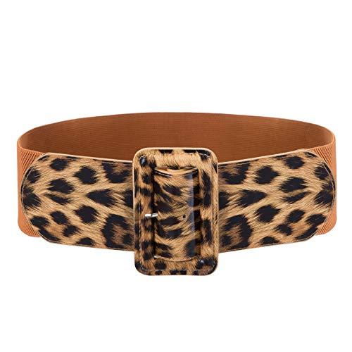 Mujer Cinturón Correa Ancho Elegante para Vestidos de Noche Leopardo Marrón 2XL