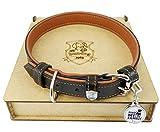 Hundog Hunde Halsband aus Rind und Elch Leder Gr XL | Dog Collar Anti-Einschnitt Fabrikation | Hundehalsband mit Lost&Found Tag