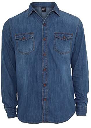 Urban Classics Men's TB409 Denim Long Sleeve Shirt S Lightblue