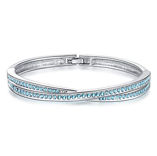 ZIRKONIA Pulsera Brazalete para Mujer - Cristales Swarovski Azul Aguamarina con Certificado de Autentificación - con Caja de Joyería para Regalo
