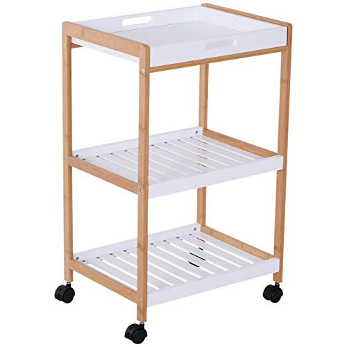 HOMCOM Küchenrollwagen Küchenwagen rollbar Küchentrolley Servierwagen abnehmbares Tablett Bambus + MDF Weiß + Natur 46 x 35 x 74,5 cm