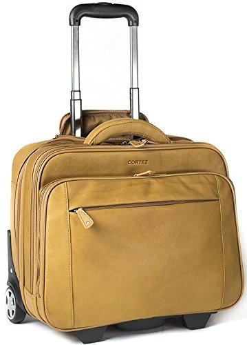 Cortez - Bagage à roulettes taille cabine - housse d'ordinateur portable amovible - cuir de Colombie - marron clair