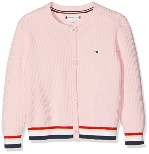 Tommy Hilfiger Baby-Mädchen Essential Stripe Rib Cardigan Pullover Rosa (Almond Blossom 634), Herstellergröße: 92