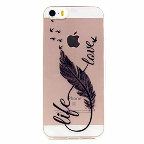 MUTOUREN iPhone SE/5/5S Crystal case cover Protective Case TPU Silicone Case Transparent Ultra Thin Gel Anti-scratch Rear Case Pouch Bumper clear - Birds Feather and Love fancy