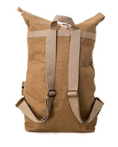 PAPERO ® Rucksack aus Kraft- Papier | Ultra minimalistisch Herren Damen, Robust, Wasserfest Vegan fair nachhaltig Urban Style FSC Zertifiziert | Kurier Taschen, Rolltop Laptop Farbe:Hellbraun - 2