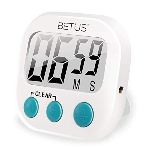 Betus Minuterie de Cuisine numérique - Grands Chiffres, opération Simple - Bloc magnétique ou Support de Table - Compteur chronomètre de Haut en Bas pour la Cuisine, la pâtisserie