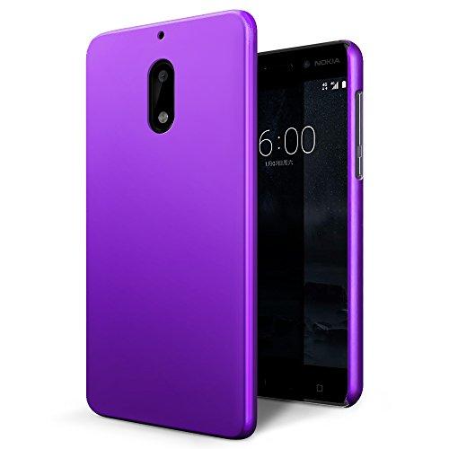 Custodia Nokia 6, SLEO Cover Nokia 6 [Protezione 360°] Thin Fit, [Cover Sottile & Robusto] Rivestimento Soft-Feel, Ultra Leggero Protetto PC Duro Case per Nokia 6 - Viola
