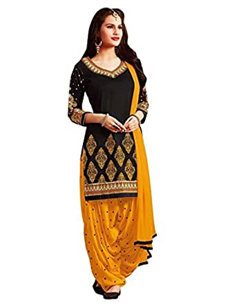 TryMode Women's French Crepe Unstitched Dress Material (Black Yellow, Free Size)