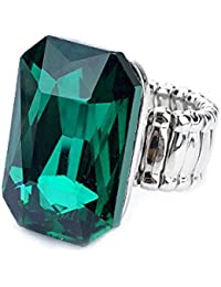 Bold N Elegant Big Crystal Artificial Solitaire Stone Studded Magnus Ring Adjustable Ring