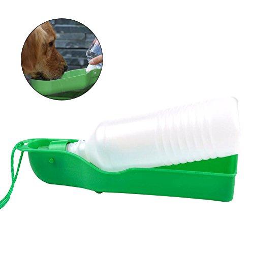 UEETEK 500ml Hund Trinkflasche, Plastik Haustier Hund Katze Reise Wasserflasche Trinkfutter, grün