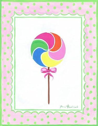 La Chambre Enfants par Stupell Rainbow Lollipop avec nœud rose Rectangle plaque murale