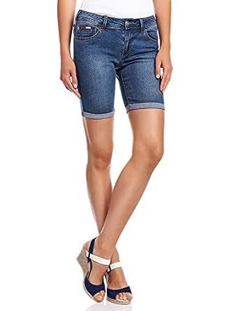 oodji Collection Femme Short Long en Jean, Bleu, W29 / FR 42