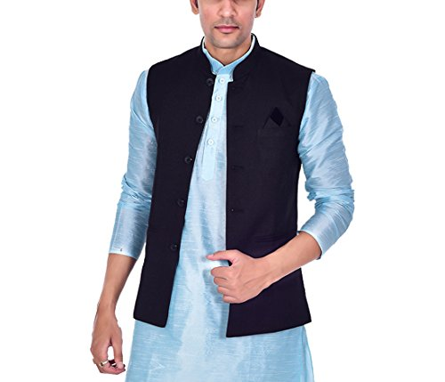Ellegent Exports Men's Ethnic Modi Nehru Jute Jacket Black S Special Eid...