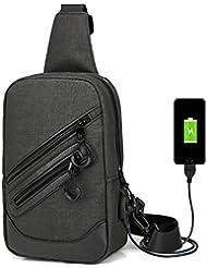Resistencia al agua Sling pecho paquete para al aire libre Ciclismo senderismo mochila de cercanías de viaje con puerto de carga USB