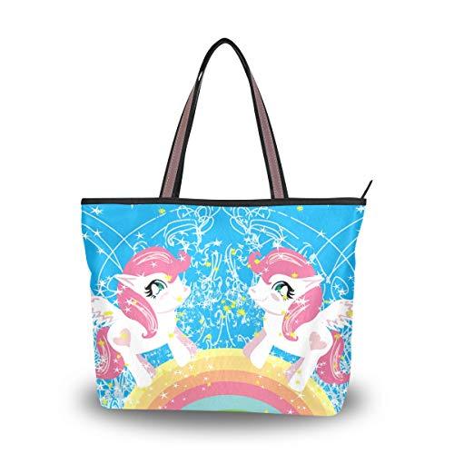 Ahomy Große Strandtasche, süßes Cartoon-Einhorn, Regenbogen-Reisetasche, Urlaub, Einkaufen, Handtaschen, Mehrfarbig - multi - Größe: Medium -