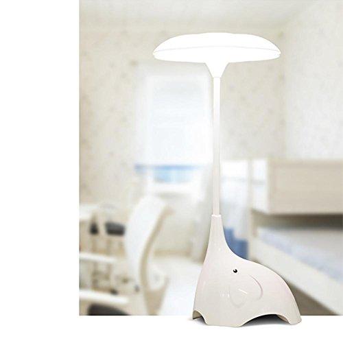 Lyy Creative LED Night Light Bett Schlafzimmer Cartoon Elefant Tischleuchte Touch-Schalter Drei Gänge Dimmen USB Kostenlos Schreibtisch Lampe , white