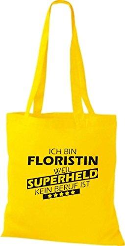 Shirtstown Stoffbeutel Ich bin Floristin, weil Superheld kein Beruf ist gelb