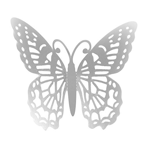 Carolui 12Stk Hohl Schmetterlinge Wandtattoo Spiegelfläche 3D DIY Stereo Abnehmbare Heimdekorationen Wandaufkleber(B-Sliver)