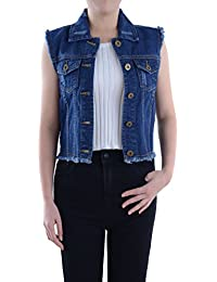 3bc451536f35 Anna-Kaci Damen Blau Denim Distressed ausgefranst Button Up ärmellos Jeans Jacke  Weste