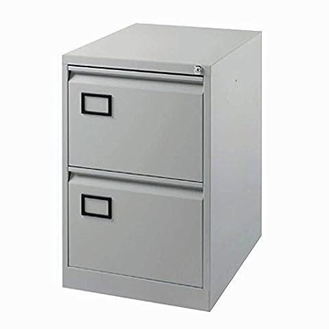 Jemini 2-Drawer Lockable Filing Office Cabinet with Anti-tilt Mechanism, Pearl Grey
