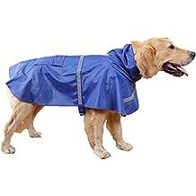 GenialES Ligera Chubasquero para Mascota Pequeños Medianas y Grandes Chaqueta para Lluvia Impermeable con Banda Reflectante para Perro Azul