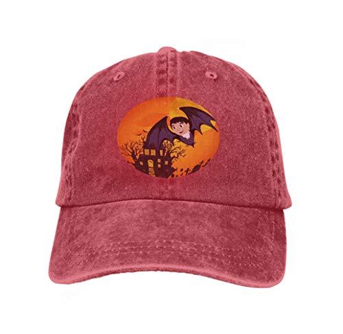 Classic 100% Cotton Hat Caps Unisex Fashion Baseball Cap Adjustable Hip Hop Hat Vampire bat Flying Full Moon Cemetery Horror Pumpkin Dracula Castle Trick Treat Baby Vampire bat
