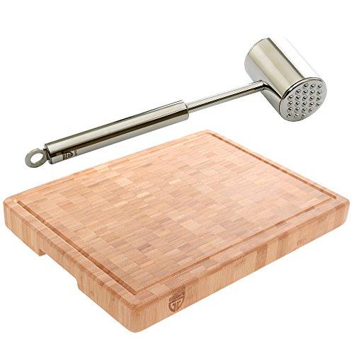 GRÄWE® Starter-Set: stabiles Schneidbrett groß + Edelstahl-Fleischhammer