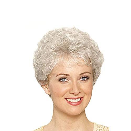 YANXS Damen Perücke Kurzes Lockiges Haar Hochwertige Hitzebeständige Perücke für Den Täglichen Gebrauch im Mittleren oder älteren Alter oder Kostüm Cosplay,Weiß