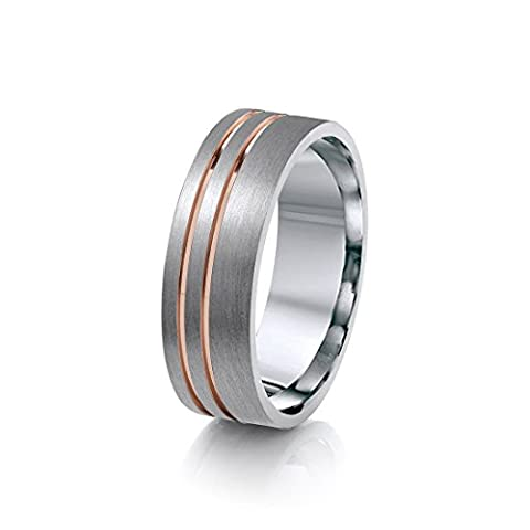 Theia Titanium with Rose Gold Colour Inlay Double Grooved Flat Court Shape 7mm Ring - Size T