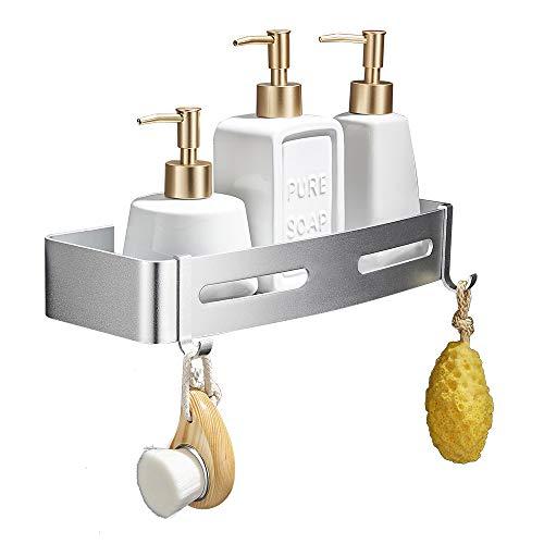 GERUIKE Duschregal Eckregal Dusche Ohne Bohren Duschregal Ecke Badezimmer Dusche Regal Dreieckige Wand Duschablage Küchen Lagerung Aluminium Selbstklebend Kein Wandmontage Silber