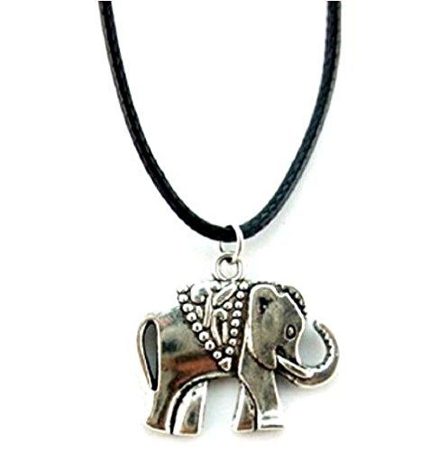 Mit Elephant Halskette Anhänger Symbol mit Laces Cord Idee Geschenk Schwarz PU Frauen Jungen Mädchen Männer Frauen Männer Unisex Boy Special Girl (Apparel Elephant)