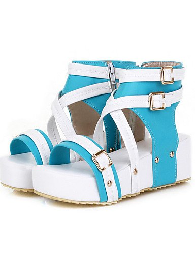 UWSZZ Die Sandalen elegante Comfort Schuhe Frau - Sandalen - formale - praktisch - Keil - Kunstleder - Schwarz/Weiß, Weiß -6.5-7 US/EU 37/ UK 4,5-5/CN 37, Weiß -6.5-7 US/EU 37/ UK 4,5-5/CN 37 Blue