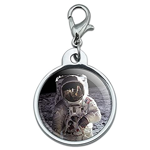Chrome Plated Metal Small Pet ID Dog Cat Tag Space and Aliens - Apollo 11 Moon Landing - Astronaut Space